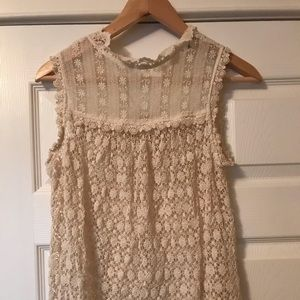 Crochet & lace mock neck top